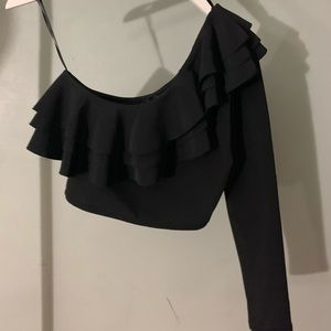 Zara One shoulder ruffle crop top